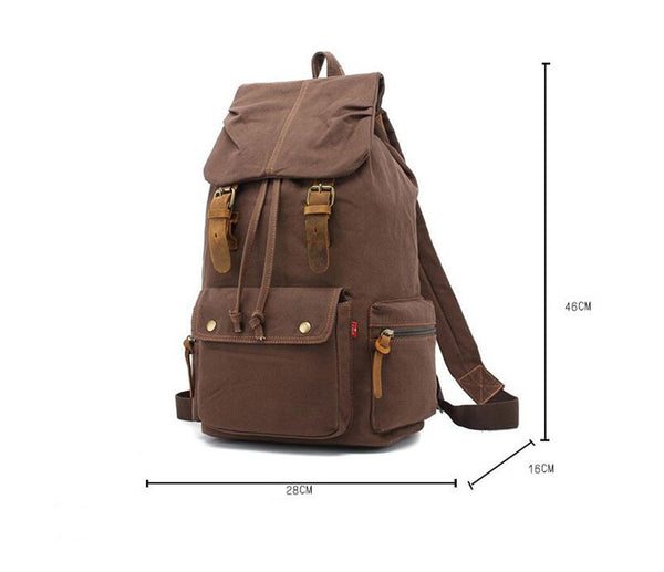 Durable Leather Green Canvas Backpack with Interior Zipper Pockets &Adjustable Shoulder Straps