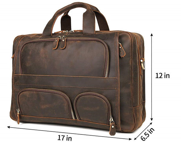for Men Business Travel Briefcase Genuine Leather  Laptop Bag 15.6 inch