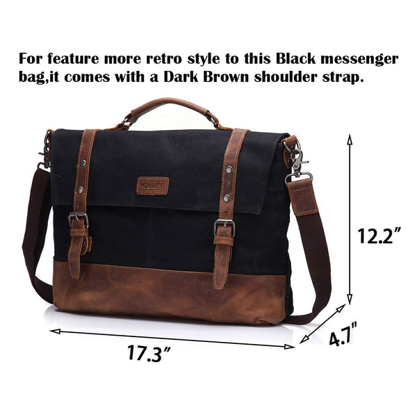 New Canvas 15.6 Inch Laptop Messenger Bag for Men - Vintage Leather Business Briefcase Tote Shoulder Satchel Bags with Removable Strap
