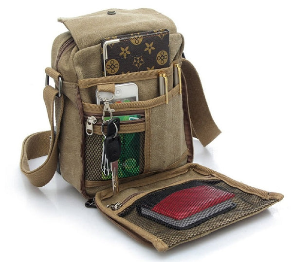 Men's Multifunctional Canvas Messenger Handbag  Sports Travel Shoulder Crossbody Side Bag