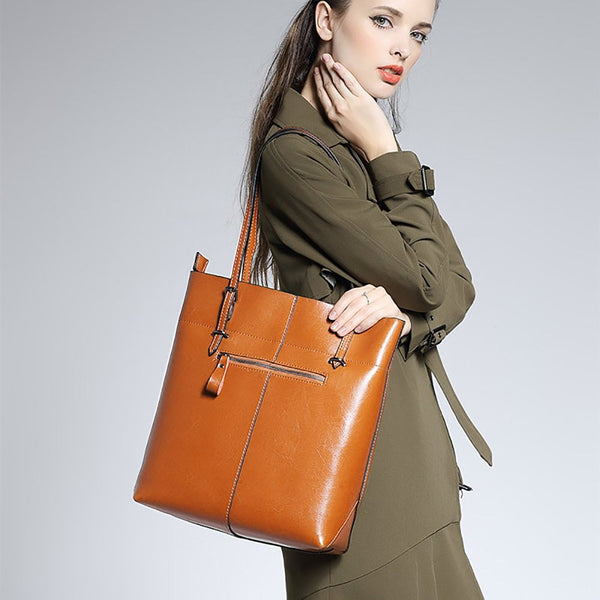 Women's Large Vintage Genuine Leather Tote Shoulder Bag
