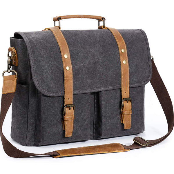093d3207cc Messenger Bag 15.6 Inch Genuine Leather Canvas Waxed Waterproof Laptop  Satchel Retro Computer Work Vintage College