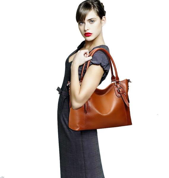 Women's Vintage Soft Leather Tote Shoulder Handbag