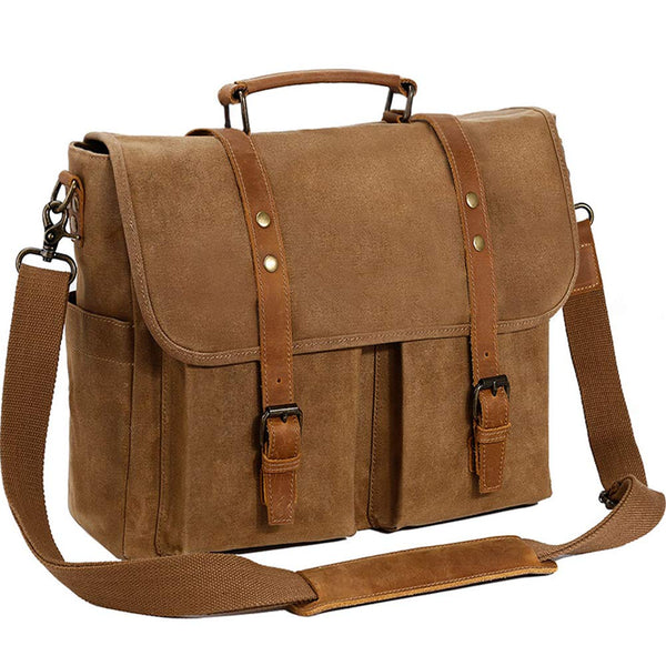 Messenger Bag 15.6 Inch Genuine Leather Canvas Waxed Waterproof Laptop  Satchel Retro Computer Work Vintage College Shoulder Bag Tablet Briefcase,