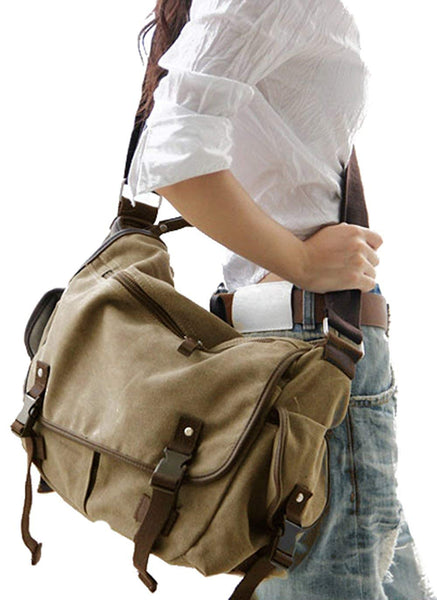 Women Men  Book Laptop Shoulder School Lady Vintage Canvas Messenger Bag
