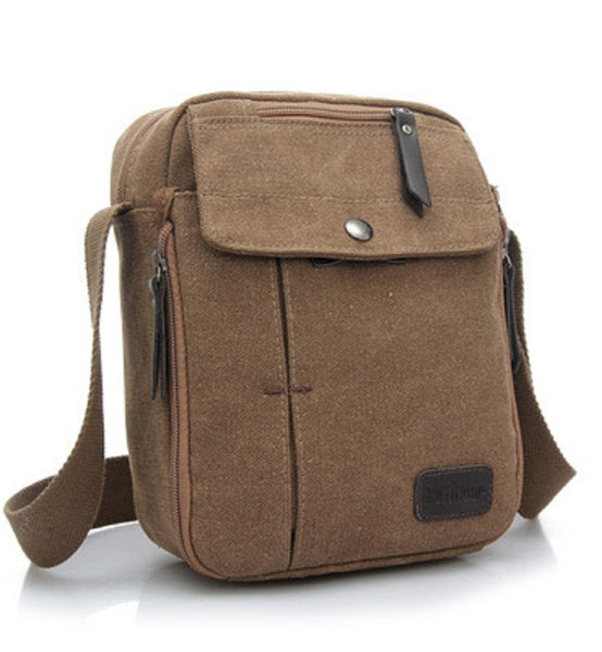 Multifunctional Canvas Messenger Handbag For Men Crossbody Shoulder Bag With Internal Pockets