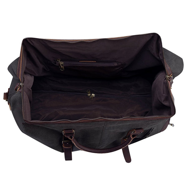 Rolling Duffel Bag - Oversized Canvas Leather Trim Travel Weekend Bag Wheeled Duffle Bag