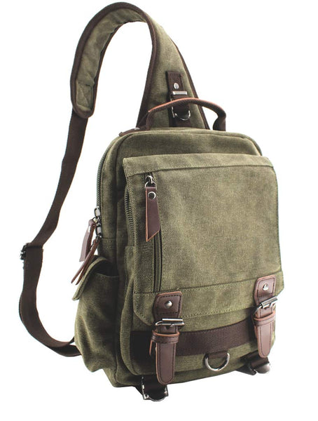 SMALL Canvas Shoulder Backpack Travel Rucksack Crossbody Messenger Bag