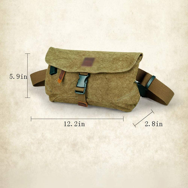Vintage Military Canvas  Small Shoulder Bag for Men