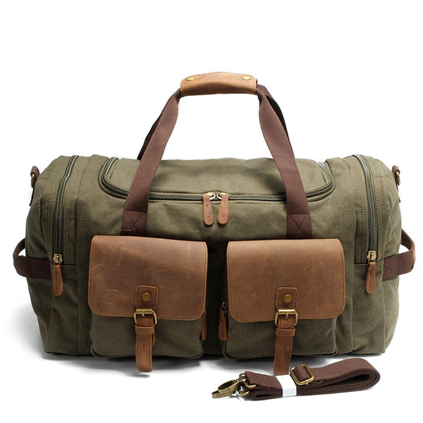 Canvas & Leather Travel Luggage Oversized Weekender Duffle Bag Holdall