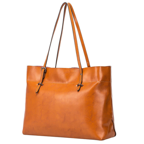 Women's Vintage Genuine Leather Tote Shoulder Bag Handbag