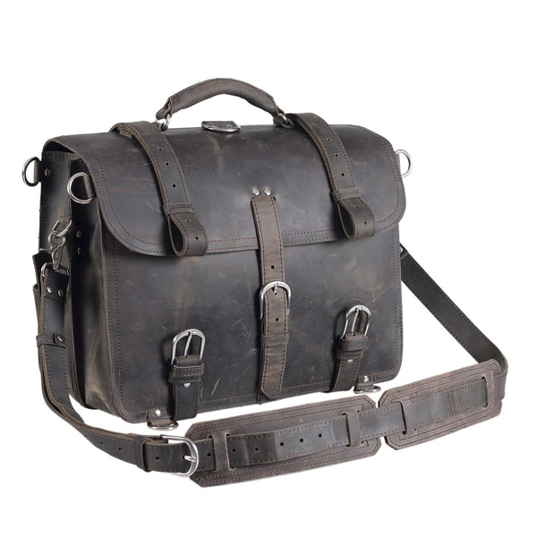 Convertible Selvaggio Vintage Handmade Full Grain Leather Briefcase with Adjustable Shoulder Strap