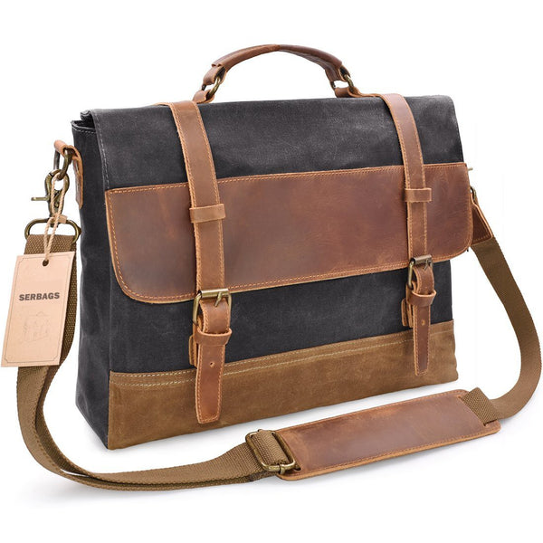 Waxed Canvas Messenger Bag with Leather Trims - Waterproof 15.6
