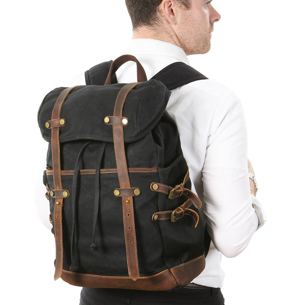 Canvas Laptop Backpack with Cotton Lining, Adjustable Shoulder Straps & Safety Pockets