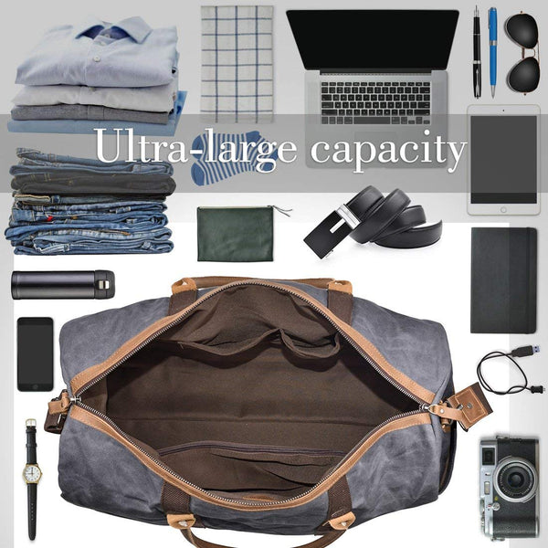 Waxed Canvas Duffle Bag for Men, Weekend Overisized Carry-on Travel Duffel Bag
