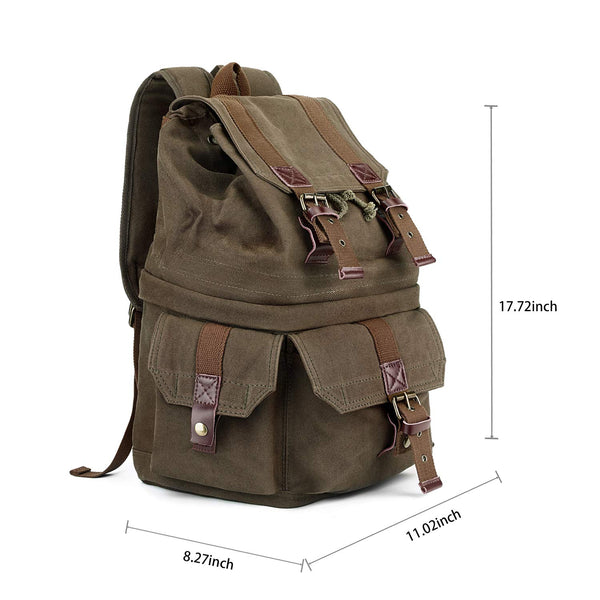 Military Style Canvas DSLR Camera Backpack Rucksack Waterproof for Sony Canon Nikon Olympus