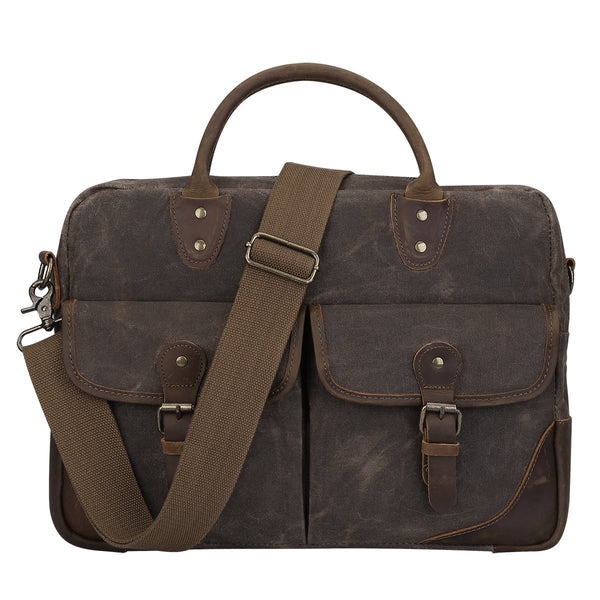 Vintage Canvas Leather Messenger Bag Briefcase Shoulder Laptop Tote Bag