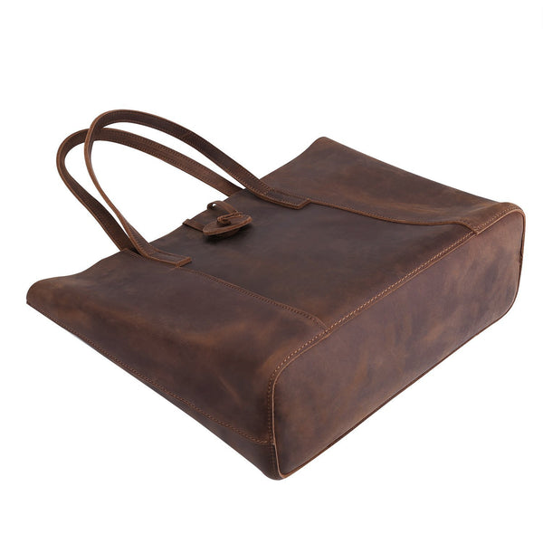 Vintage Women Genuine Leather Tote Bag Handbag Purse with Removable Pouch