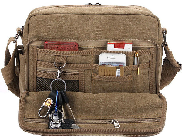 Multifunctional Mens Canvas Messenger Bag Crossbody Travel Bag