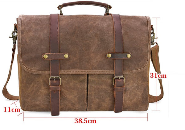 Mens Messenger Bag 15.6 Inch Waterproof Leather Waxed Canvas Shoulder Bag Brown