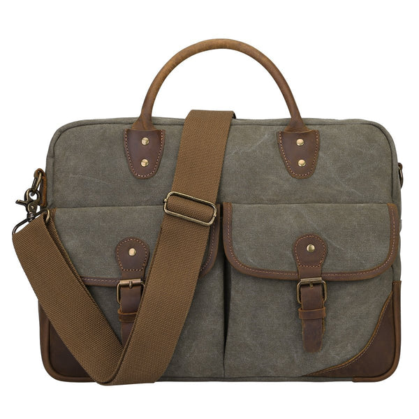 Vintage Canvas Leather Briefcase  Shoulder Laptop  Bag