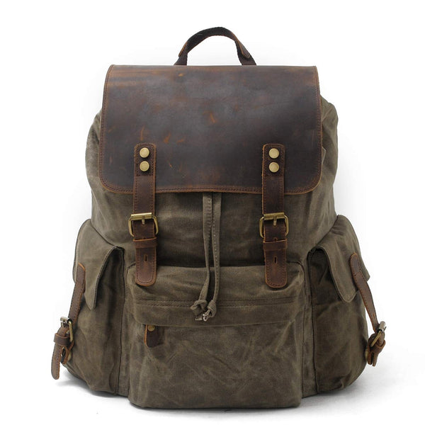 Mens  Canvas Leather Rucksack  Travel Vintage  15.6