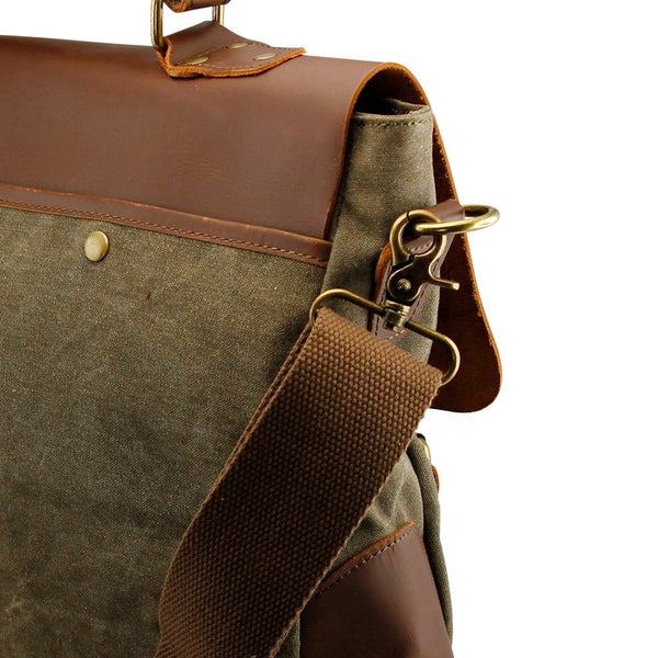 Genuine Leather Canvas And Vintage Messenger Bag
