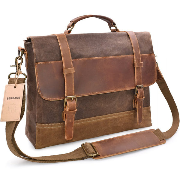... Waxed Canvas Messenger Bag with Leather Trims - Waterproof 15.6 ... 444374e9dcf32