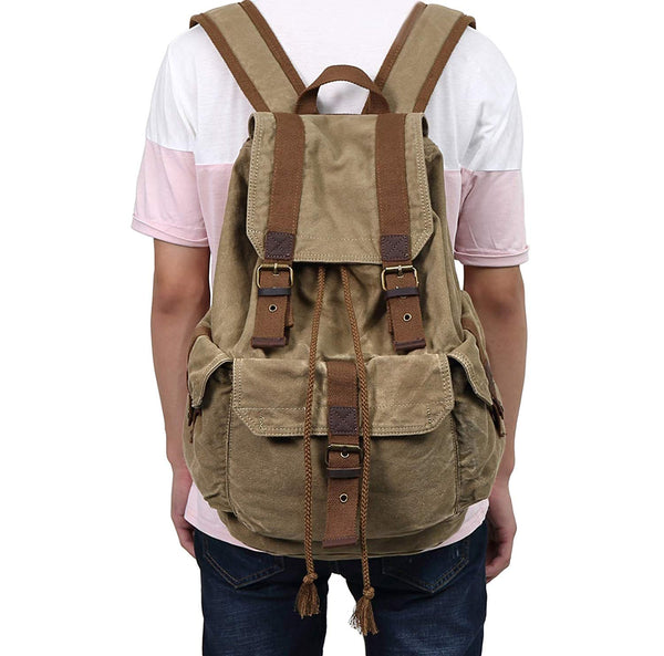 Heavy Duty Brown Canvas Classic Backpack Vintage Large Canvas Backpack (Army Green)