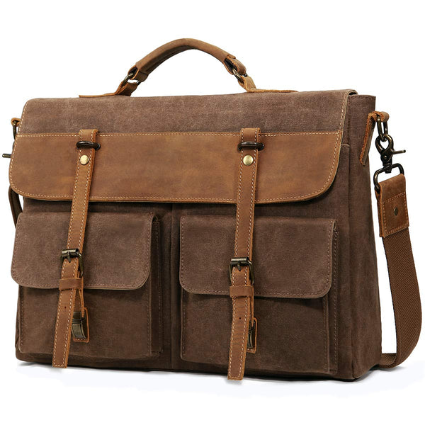 Travel Large Messenger Bag for Men Vintage  Canvas Satchel Leather Briefcases Crossbody Shoulder Bags, 15.6 inch Laptop Bags Water Resistant Travel School Work Bag