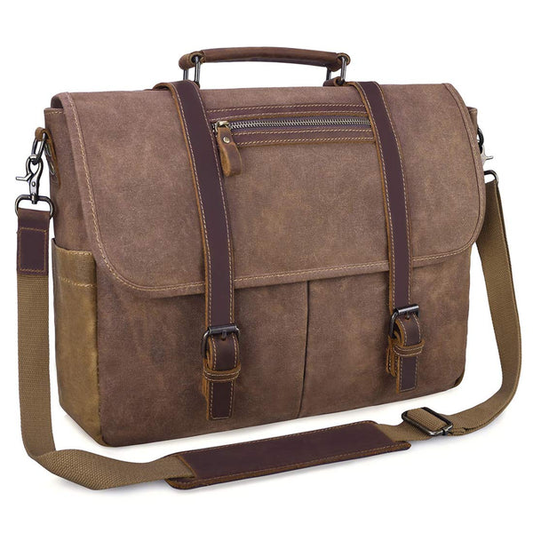 Mens Messenger Bag 15.6 Inch Waterproof Vintage Waxed Canvas Satchel Briefcase Shoulder Bag Retro Distressed Business Computer Laptop Messenger Bag