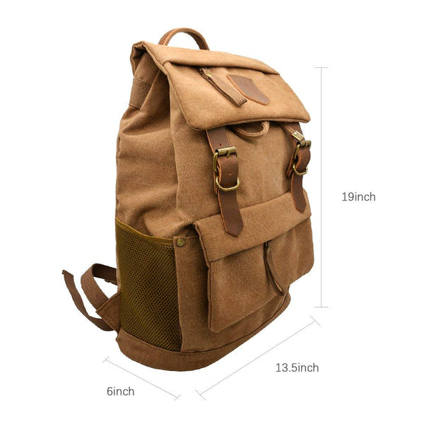 Canvas Vintage Leather Backpack - Unisex Casual Travel Rucksack Satchel, Larger Multipurpose Hiking Daypack, Bag for Men and Women