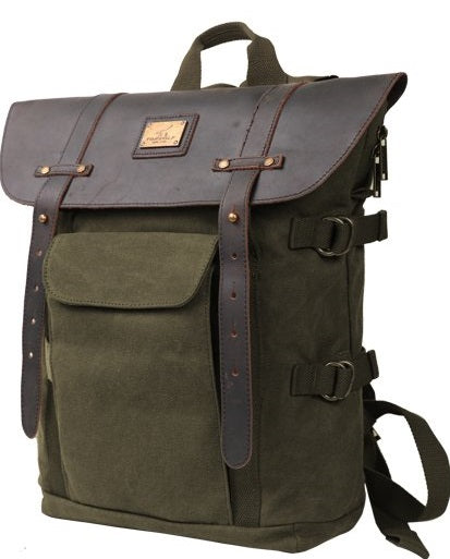 Canvas Outdoor Waterproof Travel Backpack Sturdy Leather School Laptop Bag