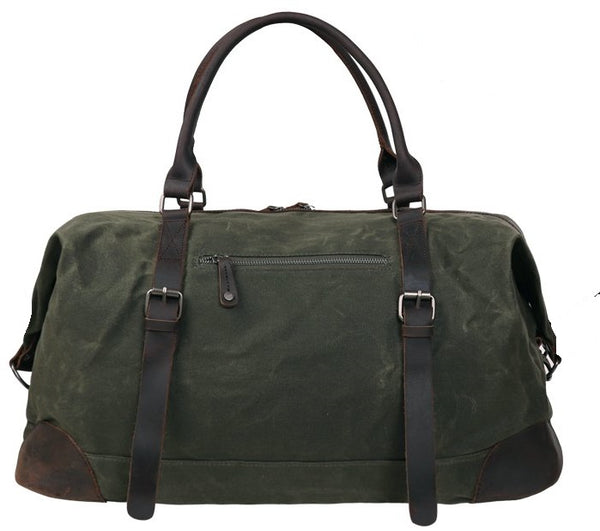 Serbags Canvas Duffel Bag Travel Tote Large Holdall Luggage Carry On Weekender Bag Waterproof Waxed Canvas