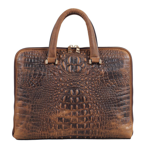 Luxury Alligator Crocodile Style Cowhide Leather Slim Business Case Briefcase Handbag