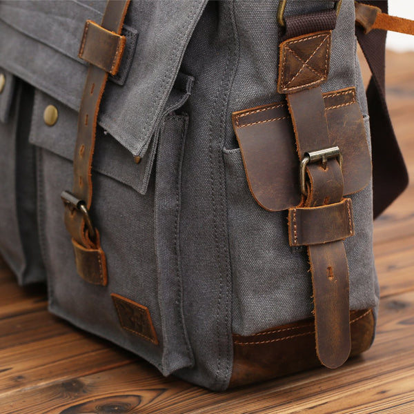 Men's Messenger Bag 17.3 Inch  Vintage Canvas Leather Satchel Laptop Bags Bookbag Working Bag
