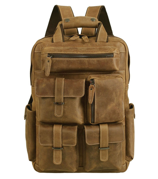 Men's Multi Pocket Handcrafted Genuine Leather Vintage College Travel Laptop Backpack