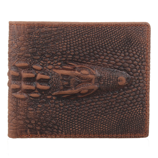 Men's Vintage Premium Handcrafted Italian Leather Alligator Crocodile Embossed Bifold Wallet