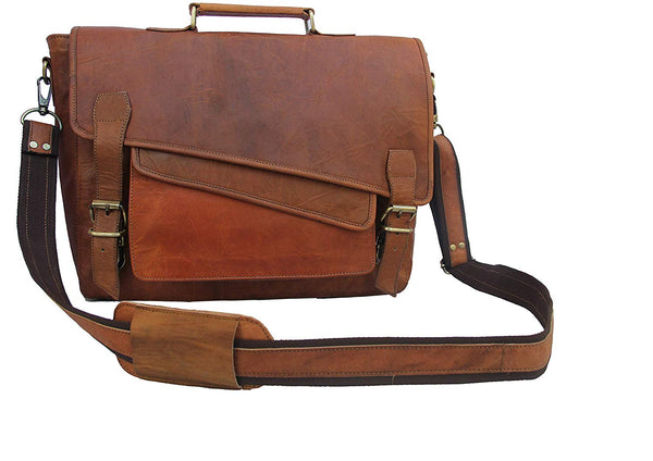 Vintage Rustic Real Leather 15.6-inch Laptop Briefcase for Everyday use.