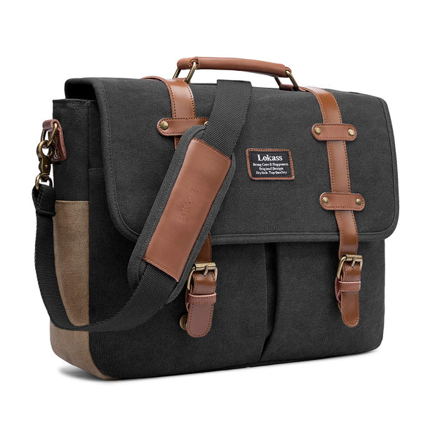 Canvas Messenger Mens  Bag, 15.6 Inch Laptop Shoulder Bag  Business Briefcase Large Vintage Satchel College Bookbag Retro Brown Leather Handbag Crossbody Bag for Men, Black