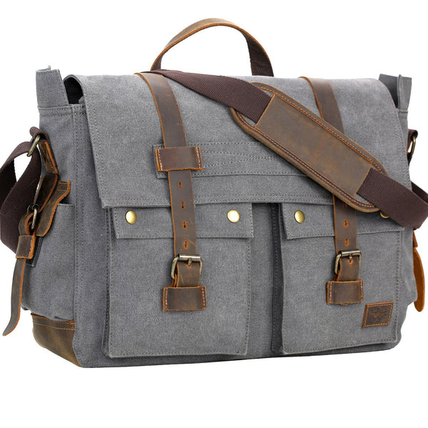Serbags Messenger Bag for Men 17 inch Canvas Laptop Bag Bag for Business School Gray