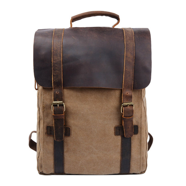 Retro Vintage Style Urban Canvas Leather School Travel Backpack Rucksack 15.6-inch Laptop Bag