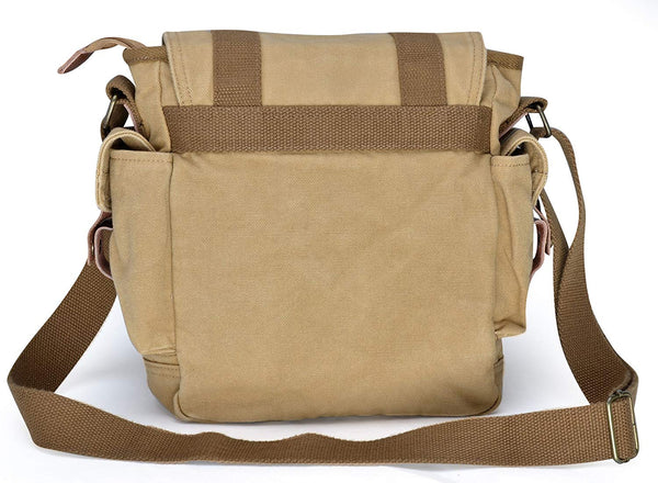 Canvas Messenger Bag - Small Vintage Shoulder Bag Crossbody Satchel