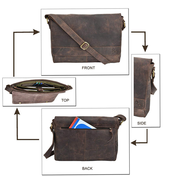 Premium Office Briefcase Leather Laptop Messenger Bag for Men 16