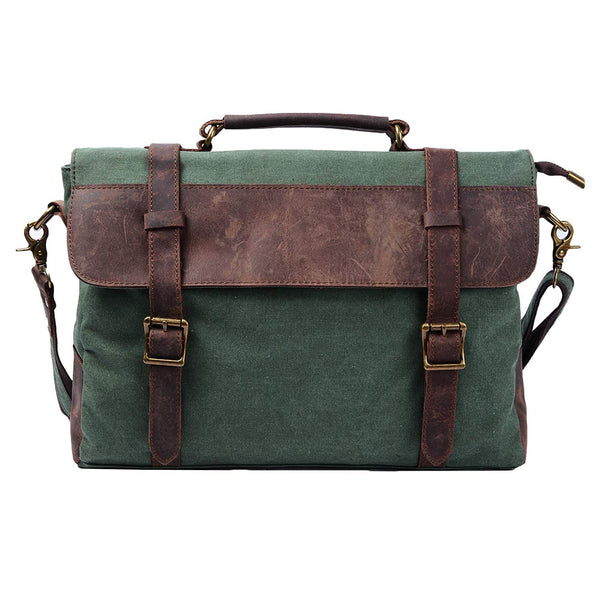 Vintage Style Multi-Compartment Genuine Leather Briefcase Messenger Bag