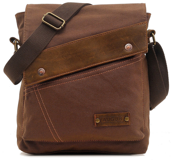Small Vintage Canvas Shoulder Bag Messenger Case for Ipad Travel Portfolio Bag