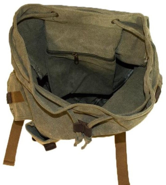 Interior pocket detail for the green heavy duty rucksack by Serbags