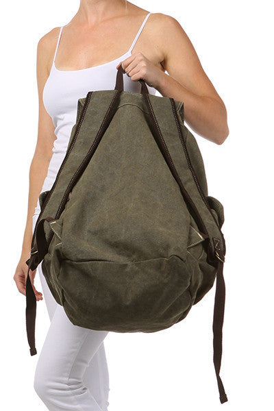 Army Green Canvas Travel Rucksack Backpack - Serbags  - 3
