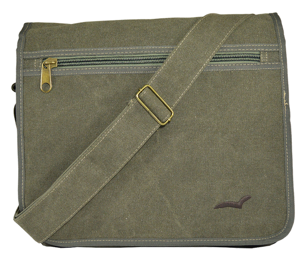 Army Green Canvas Heavyweight Messenger Bag - Serbags  - 1