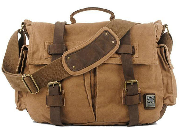 Multi-Purpose Retro Genuine Leather and Canvas Army Satchel Duel-Pouch Style